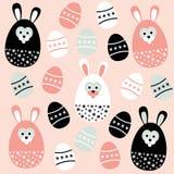Nettes nahtloses Muster Ostern mit Eiern und Häschen, Illustration Stockbild