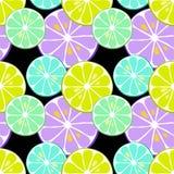 Nettes nahtloses Muster von Zitrusfrüchten Zitrone und Kalk mit einfachen Beschaffenheiten und Neonfarben lizenzfreie abbildung