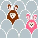 Nettes nahtloses Ostern-Hintergrundmuster mit Eiern und Hasen, Illustration Lizenzfreie Stockfotografie