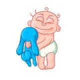 Nettes neugeborenes Baby, das Spielzeughäschen umarmt Stockbilder