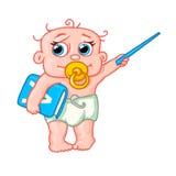 Nettes neugeborenes Baby mit einem Zeiger und einem Buch Stockbilder