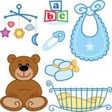 Nettes neugeborenes Schätzchen spielt grafische Elemente. Stockfotos