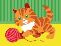 Nettes orange Kätzchen, das mit einer Schlaufe im Raum spielt stock abbildung