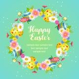 Nettes Ostern mit Blumen mit Eikranz Lizenzfreie Stockfotografie