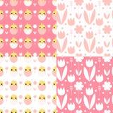 Nettes Ostern-Muster mit Hühnern und Blumen lizenzfreie abbildung