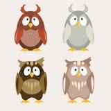 Nettes Owl Flat Vector Illustration Lizenzfreie Stockfotografie