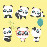 Nettes Panda-Set Lizenzfreies Stockbild