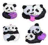 Nettes Panda-Set Markierungs-Kunst iluustration für poctcard lustige Pandas mit Herzen Für St.-Valentinsgruß ` s Tag lizenzfreie abbildung