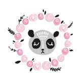 Nettes Pandagesicht Skandinavische Artillustration, Ikone lizenzfreie abbildung