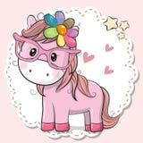 Nettes Pferdemädchen in den rosa Brillen vektor abbildung