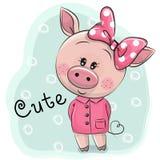 Nettes Piggy Mädchen lokalisiert auf einem blauen Hintergrund Lizenzfreies Stockfoto