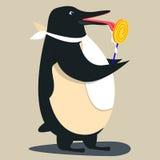 Nettes Pinguinkarikaturwellenartig bewegen Stockfotos