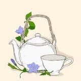 Nettes Plakat mit Teekanne und Schale und Blumen des Singrüns Stockbild