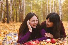 Nettes Porträt der Mutter und der Tochter im Herbstwald stockfoto