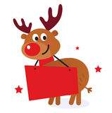 Nettes Ren mit Weihnachtsfahne Stockfoto