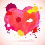 Nettes rosa Herz des Vektoraquarells mit Tinte spritzt für Valentinsgrußkarte u. -Design Lizenzfreie Stockfotografie