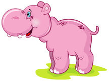 Nettes rosafarbenes Flusspferd Stockbild