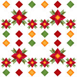 Nettes Rot der Karikatur blüht nahtloses Muster mit geometrischem Element Lizenzfreie Stockfotografie