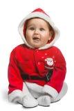 Nettes Santa Claus-Baby lokalisiert auf Weiß Stockbilder