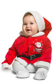 Nettes Santa Claus-Baby lokalisiert auf Weiß Lizenzfreies Stockbild