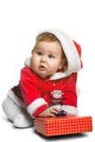 Nettes Santa Claus-Baby lokalisiert auf Weiß Lizenzfreie Stockbilder