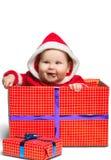 Nettes Santa Claus-Baby lokalisiert auf Weiß Lizenzfreie Stockfotografie