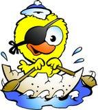 Nettes Schätzchenhuhn, das ein Boot rudert Lizenzfreies Stockfoto
