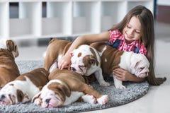 Nettes schönes kleines Mädchen, das mit Welpen der englischen Bulldogge spielt lizenzfreie stockfotos