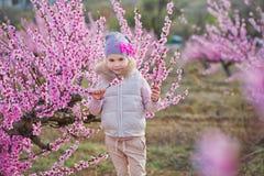 Nettes schönes stilvolles gekleidetes blondes Mädchen, das auf einem Feld des jungen Pfirsichbaums des Frühlinges mit rosa Blumen Stockfotografie