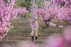 Nettes schönes stilvolles gekleidetes blondes Mädchen, das auf einem Feld des jungen Pfirsichbaums des Frühlinges mit rosa Blumen Lizenzfreies Stockbild