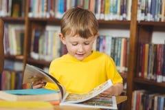 Nettes Schülerlesebuch in der Bibliothek Lizenzfreie Stockfotografie