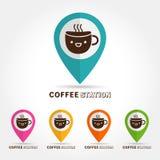 Nettes Schalenlogo des Kaffees, cofee Stationskonzept Stockfotos