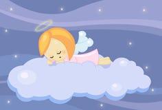 Nettes schlafen wenig Engelsmädchen Stockfotos