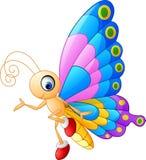 Nettes Schmetterlingskarikaturdarstellen stock abbildung