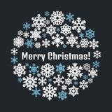 Nettes Schneeflockenplakat, Fahne Flache Schneeikonen, Schnee blättert Schattenbild ab Nette Schneeflocken für Weihnachtsfahne, K Stockbild
