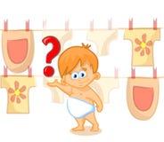Nettes Schätzchen mit Fragezeichen Stockfoto