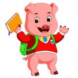 Nettes Schulschwein, das mit einem Rucksack geht stock abbildung