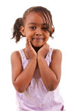 Nettes schwarzes Mädchenlächeln stockfoto