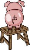 Nettes Schwein auf hölzernem Schemel Stockfotografie