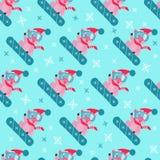 Nettes Schwein auf Snowboard, nahtloses Muster Symbol im chinesischen Kalender von dem 2019-jährigen Auch im corel abgehobenen Be vektor abbildung