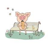 Nettes Schwein, das auf einer Bank sitzt Lizenzfreie Stockfotos