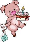 Nettes Schwein, das Geburtstagskuchen und -geschenk hält stock abbildung