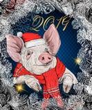 Nettes Schwein des Vektors in den Palmblättern Schwein in den Gläsern mit einem Cocktail in seiner Hand Symbol 2019 des neuen Jah lizenzfreie abbildung