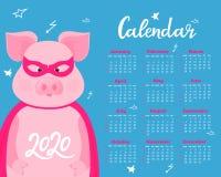 Nettes Schwein in einem Superheldkost?m in einer Maske und in einem Regenmantel Lustiges Tier Kalender f?r 2020 Wochenanfang am S lizenzfreie abbildung