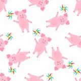 Nettes Schwein geht und h?lt ein Feuerradspielzeug Lustiges Tier Nahtloses Muster der Piggy Zeichentrickfilm-Figur für die Dekora stock abbildung