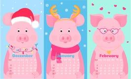 Nettes Schwein in Sankt-Hut, mit Rotwildhörnern, Schal und Gläsern Lustiges Tier Monatskalender für August 2020 Wochenanfang am S vektor abbildung