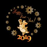 Nettes Schwein umgeben durch Schneeflocken Guten Rutsch ins Neue Jahr! 2019 stock abbildung