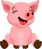 Nettes Schweinkarikatursitzen lizenzfreie abbildung