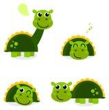 Nettes Set des grünen Dinosauriers getrennt auf Weiß Stockfotografie