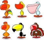Nettes Set Vögel, einschließlich einen Hahn, Stockfotos